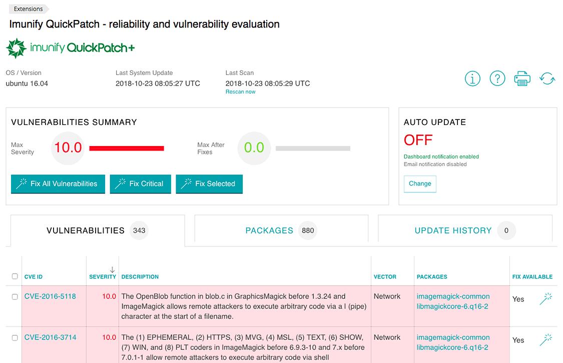 Imunify360 screen-quick-patch-plus