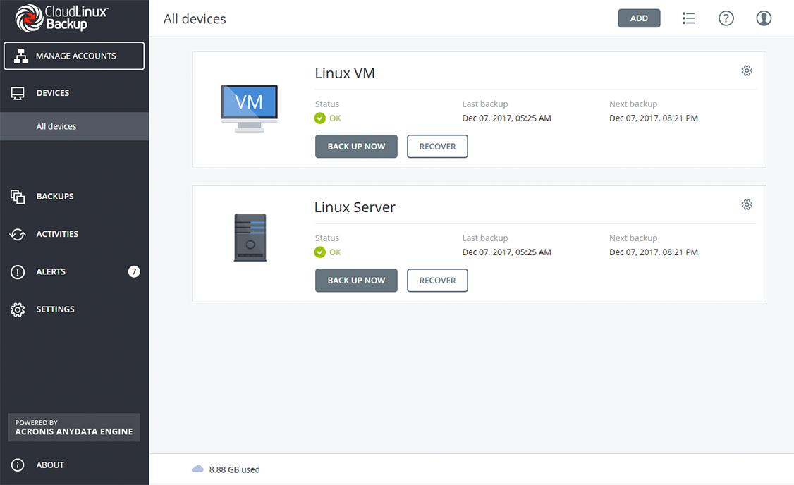 Imunify360-interface
